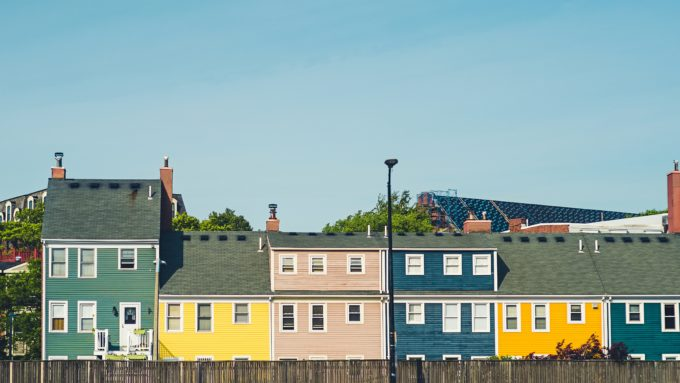 Row of different color homes